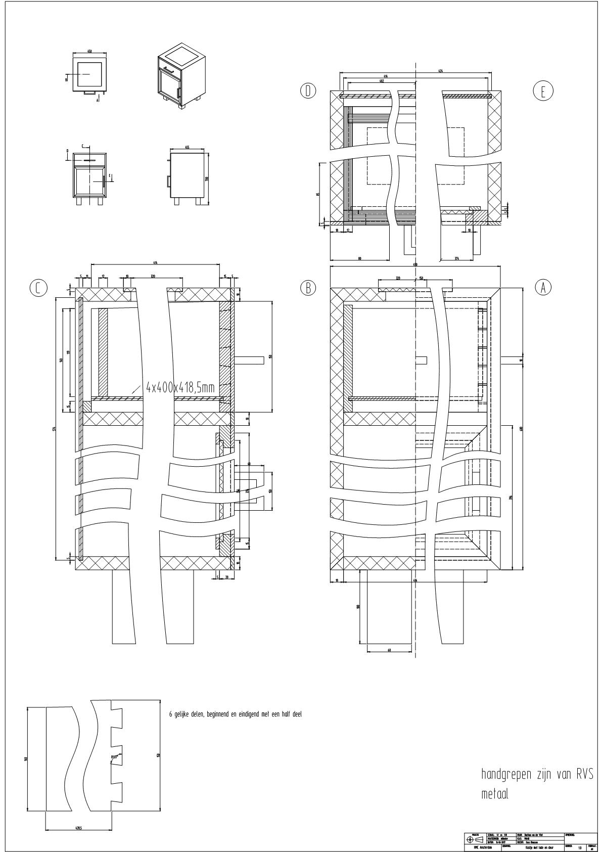 Werktekening kastje met lade en deur